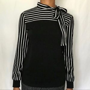 Allegra K Black & White Long Sleeve Top,Size M GS